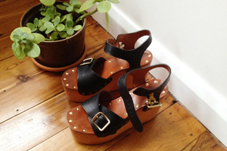shoes wedges flatforms wooden leather heels straps
