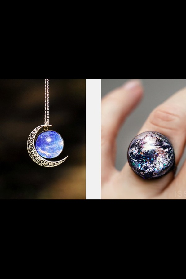 jewels earth ring moon science ring silver necklace