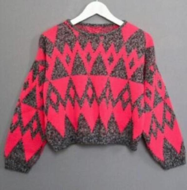 shirt pink happily grey sweatshirt cute tribal pattern tribal sweater long sleeves warmth winter sweater sweater
