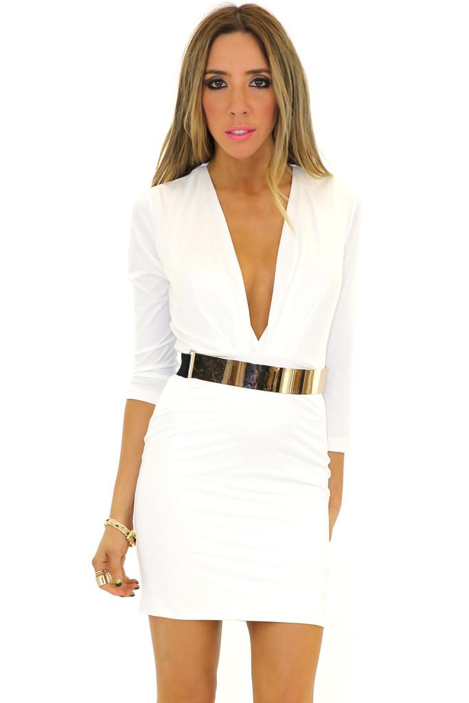 VENETA BODYCON DRESS - White | Haute & Rebellious