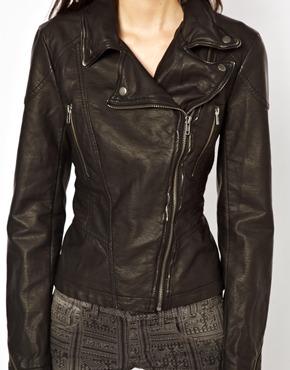 Free People   Free People Distressed Biker Jacket in Vegan Leather at ASOS