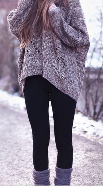 sweater loose sweater vintage grunge grey indie loose fit sweater winter sweater winter outfits ripped sweater fashion socks