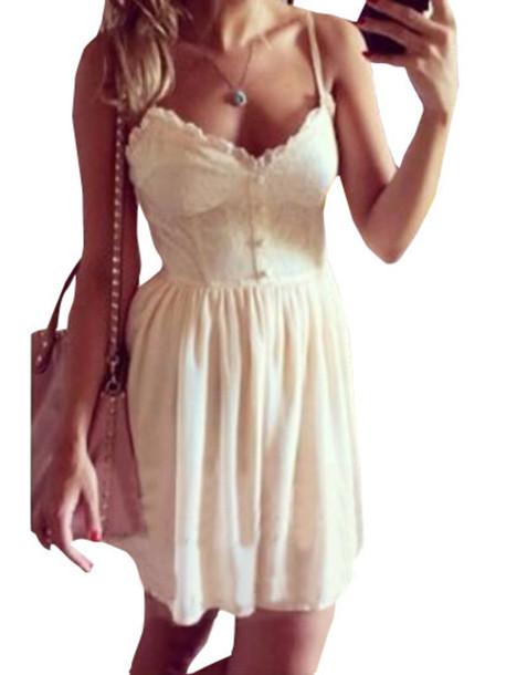 dress buttons lace white spaghetti strap