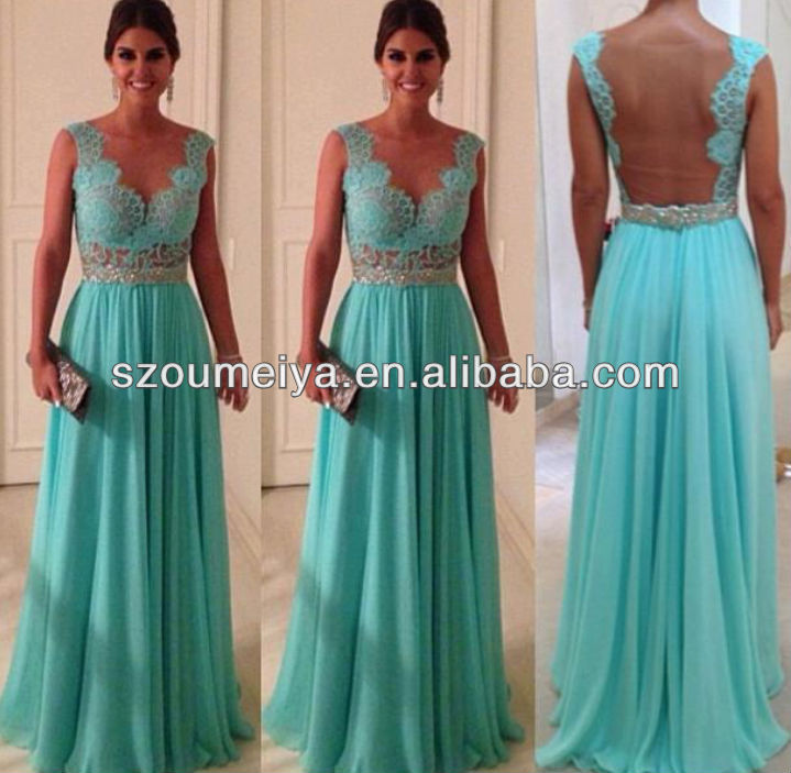 OED125  Floor Length Sleeveless Transparent Lace Bodice Vestido De Baile Chiffon Mint Green Prom Dresses Open Back on Aliexpress.com