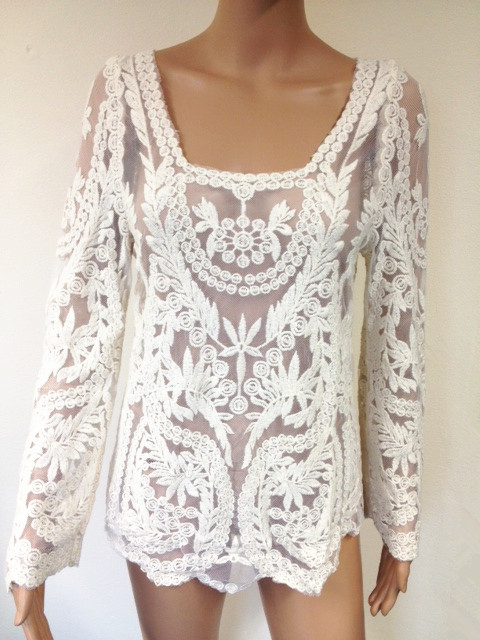 Floral Lace Embroidered Crochet Blouse - Cream
