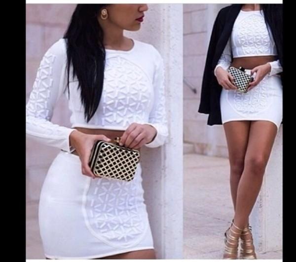 tank top white top skirt bag jewels