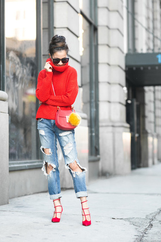 wendy's lookbook blogger red sweater chloe bag ripped jeans red bag red shoes