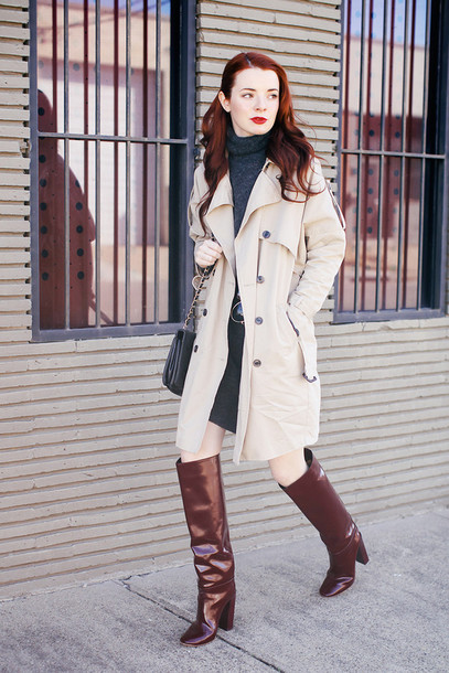 sea of shoes blogger brown leather boots trench coat sweater dress coat bag shoes