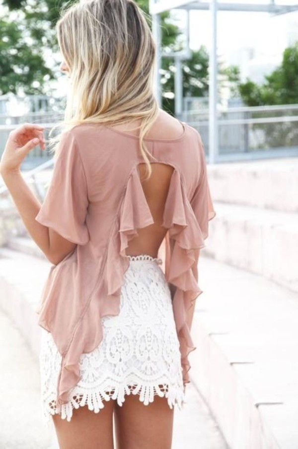 skirt white lace skirt top nude white summer rose shirt pink blouse open back peach top girly girly pretty ruffle white skirt backless light pink short sleeve blouse ruffle summer outfits summer top lace sweet spring pink blouse lace skirt white lace skater skirt mini skirt ruffled top elegant