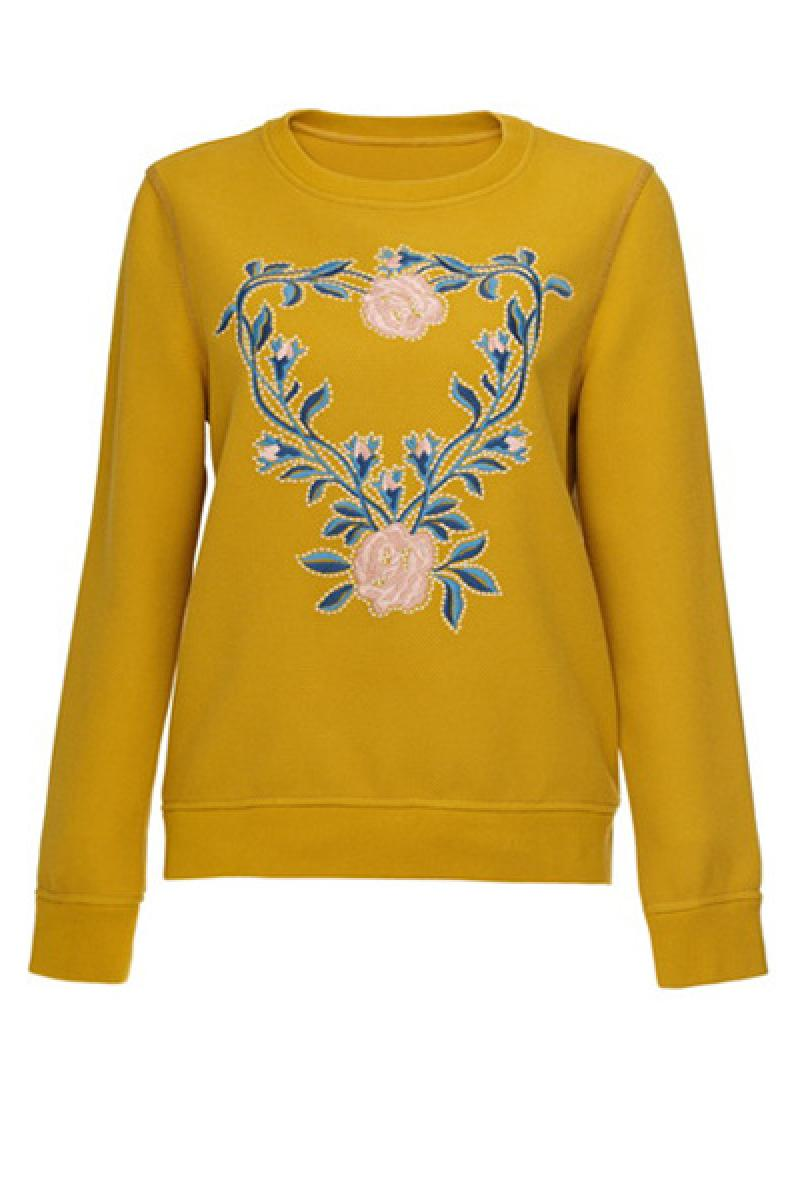 Western Embroidery Crewneck Loose Long Sleeve Pullover Sweater,Cheap in Wendybox.com