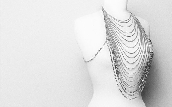 Cascading Body Chain Necklace  Front to back long by VQSTUDIO