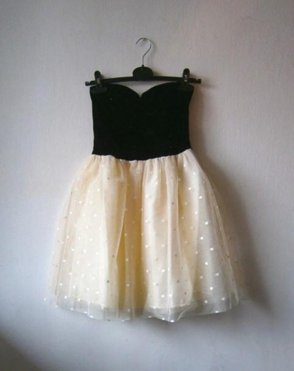 dress short prom black white cream polka dots polka dotted vintage