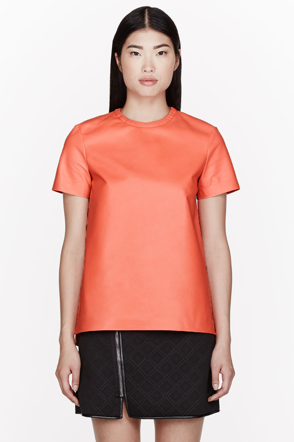 proenza schouler coral orange leather tissue t_shirt