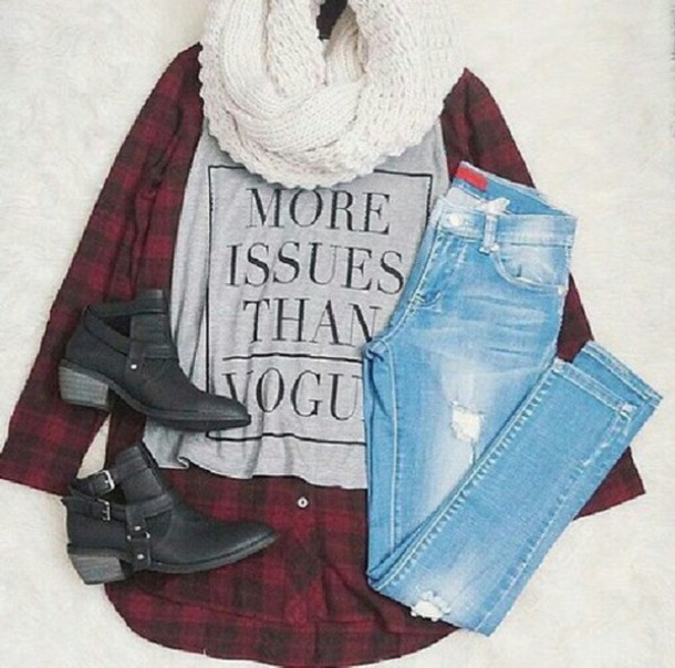 scarf blouse jeans more issues than vogue shirt shoes black boots plaid top