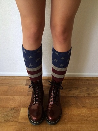 shoes red boots tumblr doc martin liz stevenson tumblr girl girl cute flag socks american flag