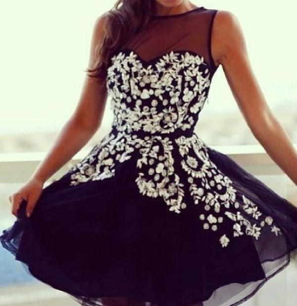 dress girly cute black short flouwers glitter girl fashion