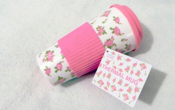 home accessory mug traveler primark pink pastel pastel pink floral floral thermal travel mug