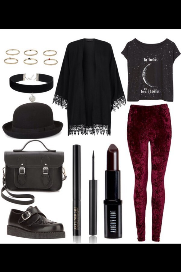 cardigan black leggings pants t-shirt shirt creepers bag ring kimono lipstick velvet hat jeans jewels back to school