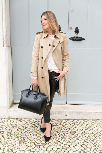 the working girl blogger top t-shirt belt bag beige office outfits trench coat leather pants petit bateau