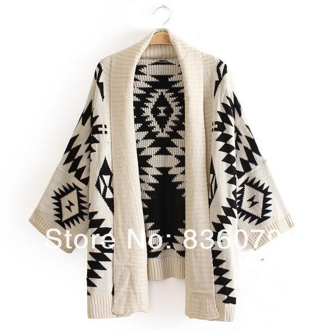 Big sale 2014 Spring fashion Women Aztec Cardigan Tribal Print Chunky Wool Cardigan woman batwing sweaters-in Cardigans from Apparel & Accessories on Aliexpress.com