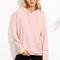 Pink drop shoulder hooded sweatshirt with pocket -shein(sheinside)