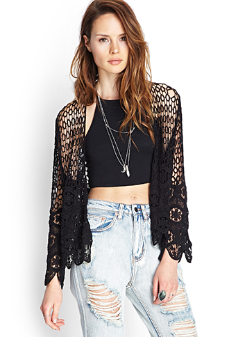 Scalloped Crochet Cardigan | FOREVER21 - 2055879606