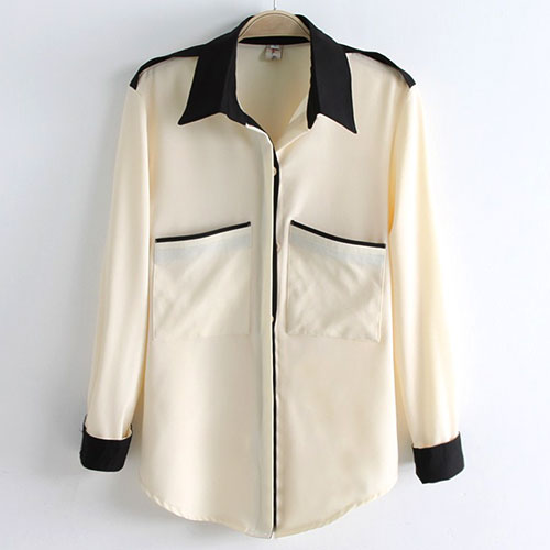 Contrast Color Chest Pockets Shoulder Epaulets Chiffon Shirt Blouse [grzxy6601401] on Luulla