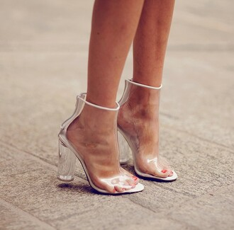 shoes perspex clear see through boots heels
