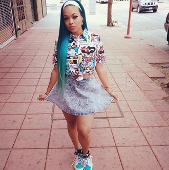 shirt comics jean skirt colorful patterns skirt