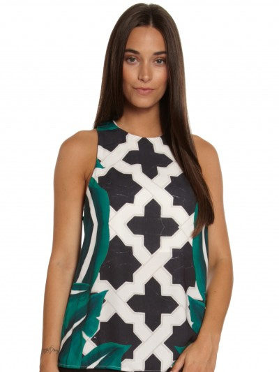 The Cave Top in Moroccan Leaf Print - Glue Store