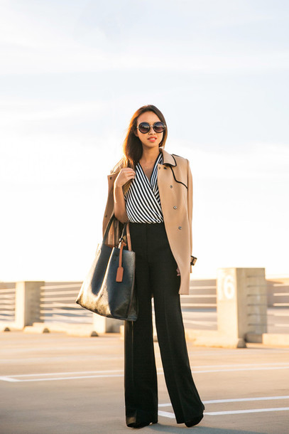 lace and locks blogger blouse camel stripes black pants leather bag