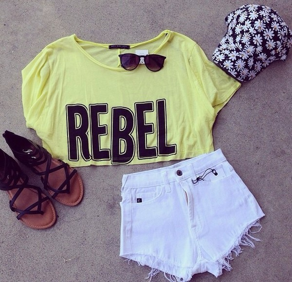 shirt t-shirt crop tops yellow neon graphic tee graphic crop tops sunglasses shorts white daisy lowe daisy summer outfits summer outfits hat shoes