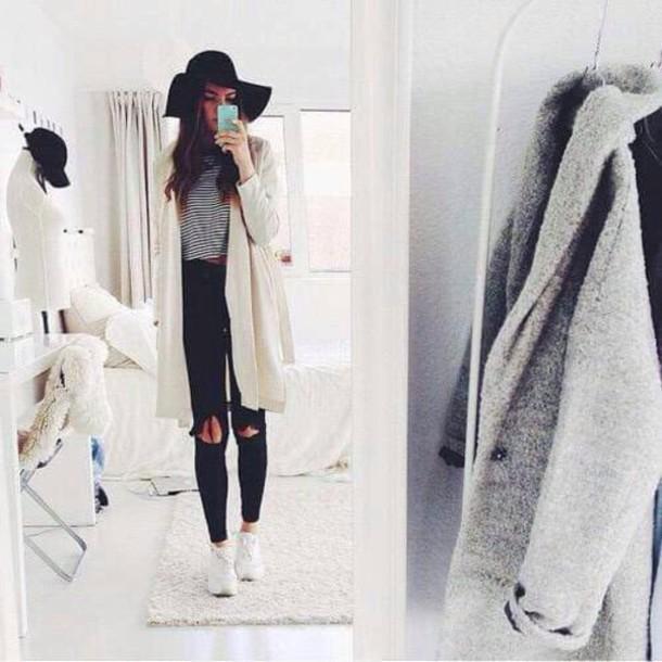 coat white coat black jeans hat nike shoes