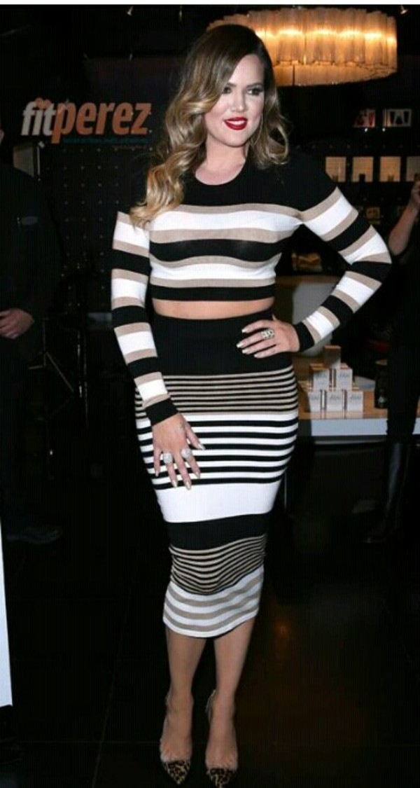 skirt khloe kardashian black and white two-piece
