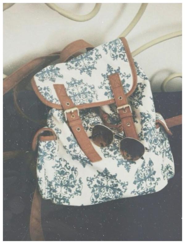 bag rucksack backpack blue brown white vintage retro fashion