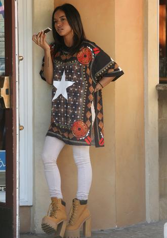 top tunic dress tunic oversized shoes ankle boots karrueche denim