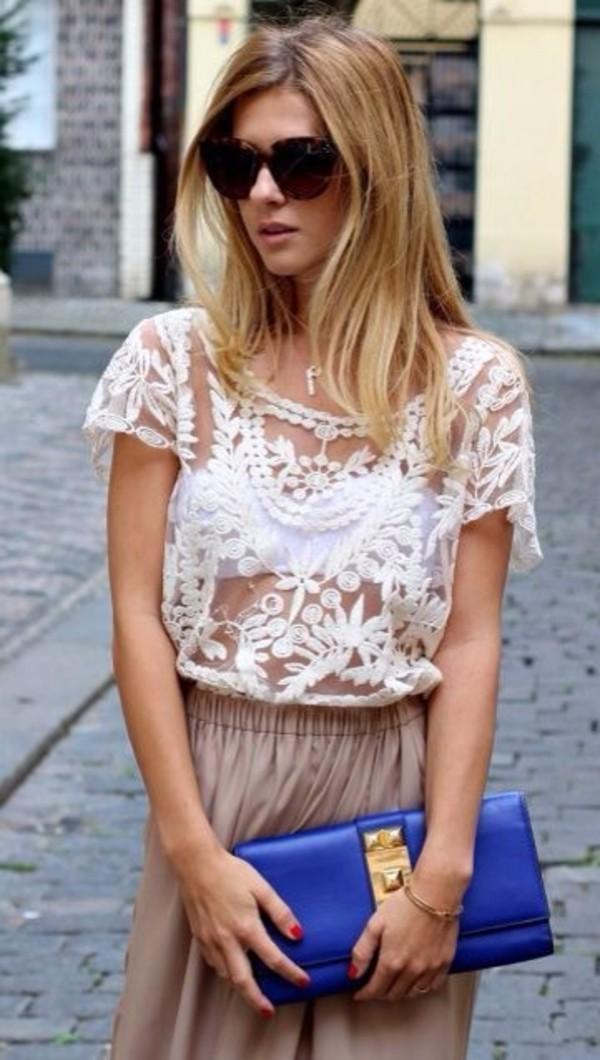 blouse crochet white boho lace lovely pretty spring summer hipster
