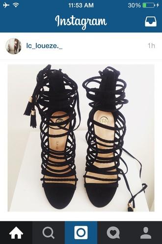 shoes riverisland strappy heels straps rope black blackheels